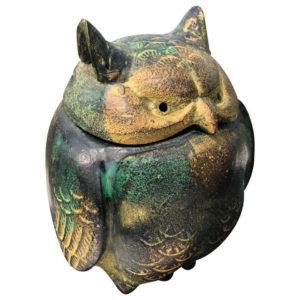 Japanese Gold Gilt Bronze Owl with Original Box