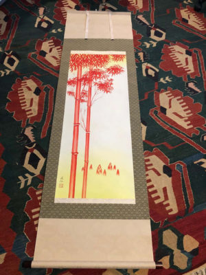 "Japanese ""Brilliant Red Bamboo"" Fine Hand Painted Scroll Signed"