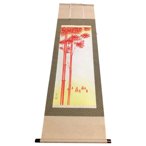 """Japanese """"Brilliant Red Bamboo"""" Fine Hand Painted Scroll Signed"""