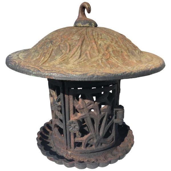 """Tall Old Round Garden Lantern """"Iris, Flowers & Vines"""""""