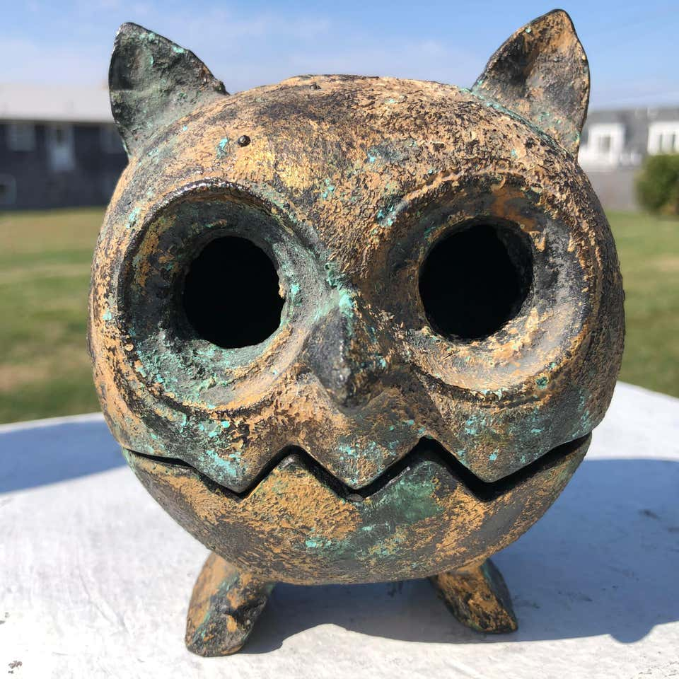 "Japanese Hand Cast ""Owl"" Lantern, Rare Find"