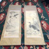 """Antique Set Two Hand Painted """"Wild Geese"""" Silk Scroll Set"""