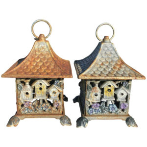 Bird Houses Motif Lantern Pair