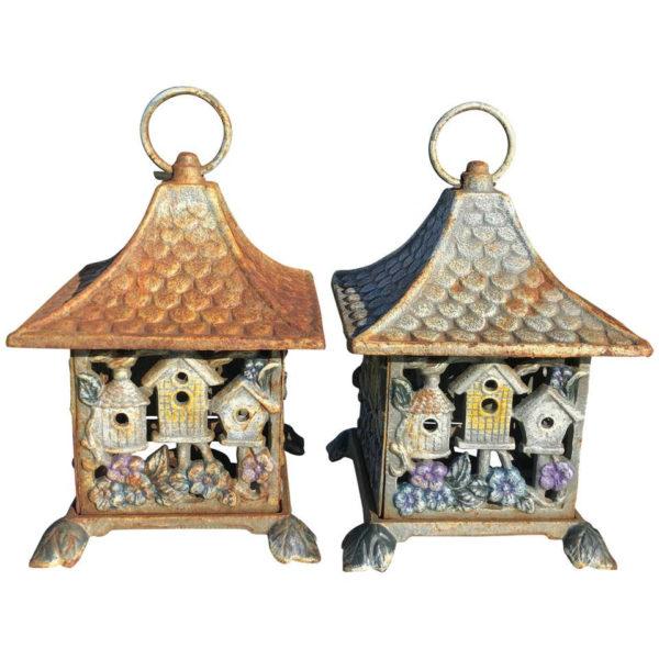 Bird Houses Motif Lantern Pair