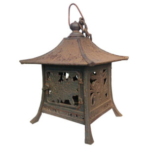 "Bronze ""Flowers, Bamboo, And Grasses"" Lantern"