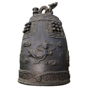 "Bronze Temple Bell ""Flying Angels And Dragon"""