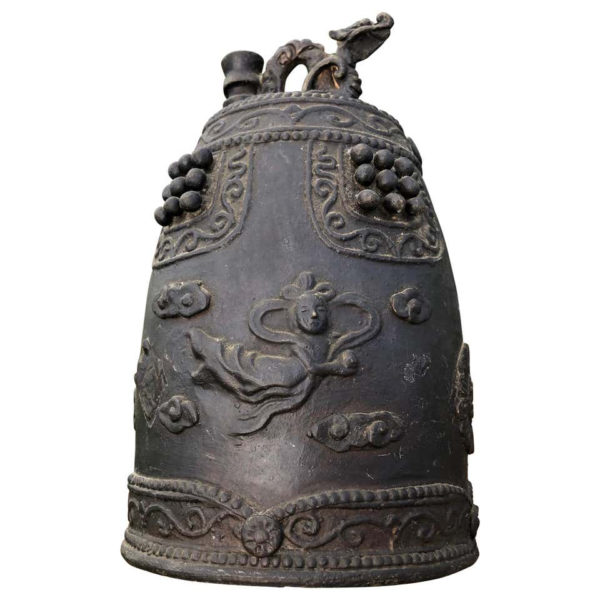 """Bronze Temple Bell """"Flying Angels And Dragon"""""""