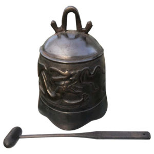 "Hand Cast Bronze Temple Bell ""Dragon"""
