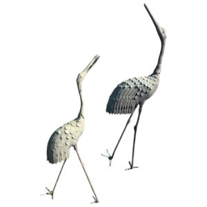 Japan Tallest Pair of Antique Bronze Cranes