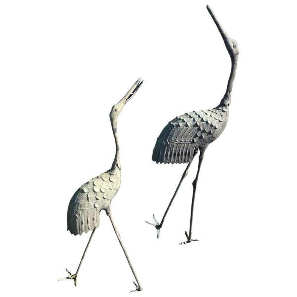Japan Tallest Pair of Antique Bronze Cranes
