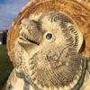 Japanese Garden Pair Him & Her Folk Hero Tanukis Handmade Big Belly Sculptures