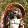 Gentle Old Japanese Folk Hero Tanuki Handmade Hand Glazed Big Belly