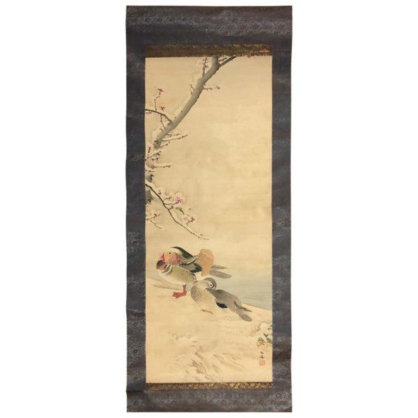 Mandarin Ducks Silk Scroll