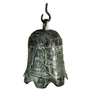 Antique Guan Yin And Personal Calligraphy Cast Bronze Temple Bell