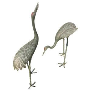 Japanese Old Hand Cast Pair Bronze Garden Cranes