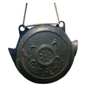 "Japanese Antique Bronze ""Birds"" Hand Bell 19th Century"