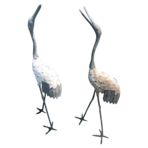 """Japanese Hand Cast Pair Old Bronze """"White Feather"""" Cranes"""