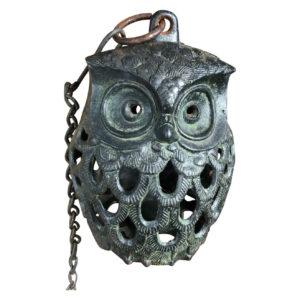 "Japanese Hand Cast ""Owl"" Lantern, original Chain"