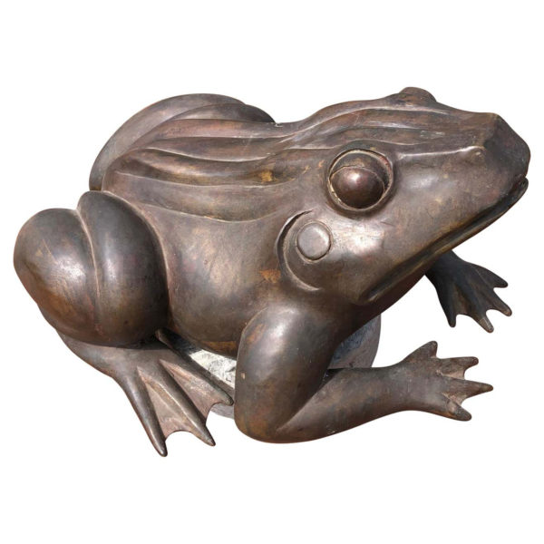 Giant Antique Bronze Garden Frog With Superb Details