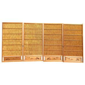 Japanese Antique Set Four Fine Natural Shoji Bamboo Doors Screens, Trees & Boats