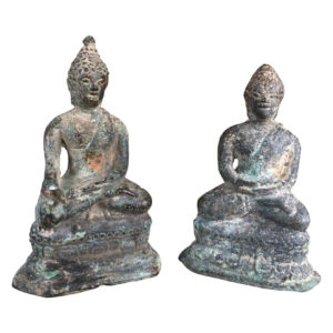 Antique Pair of Bronze Enlightenment Buddhas, 200 Years Old