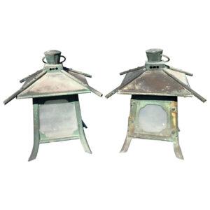 Japanese Antique Pair Fine Copper Pendant Lantern Light Fixtures