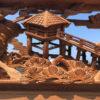 Japanese Fine Old Garden Pavilions, Bridges, And Birds Screen