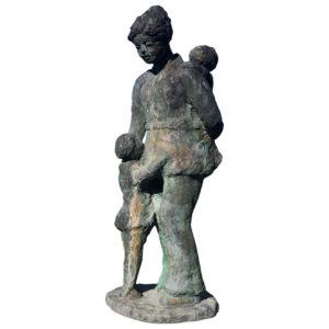 "Japanese Bronze Midcentury Sculptor ""Mother And Children"" Kiku"