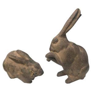 Japanese Old Pair Garden Rabbits