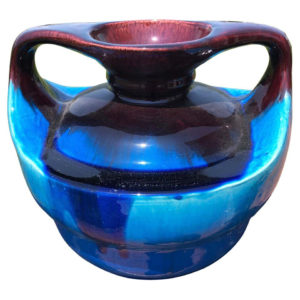 Japanese Big Antique Blue Double Handle Vase
