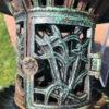 """Fine Tall Round Garden """"Iris, Flowers & Vines"""" Lanterns Pair Original Paint"""