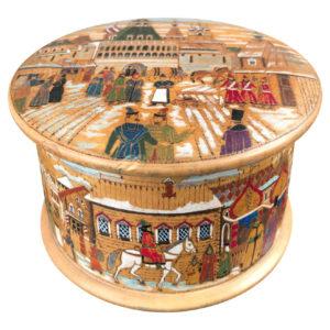 Russian Antique Kustar Painted Tobacco Box 1930