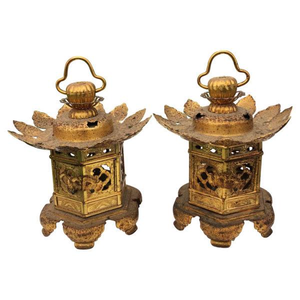"""Japanese Pair Gilt Gold """"Lotus Flower"""" Lanterns"""