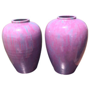 Japanese Antique Pair Lavender Flambe Vases