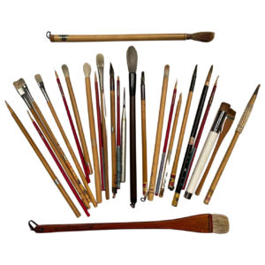 Artisan's Cache of 25 Old Chinese Paint Calligraphy Bamboo Brushes