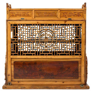 """Chinese Antique Carved """"Double Happiness"""" Wedding Marriage Chest, 19thc."""
