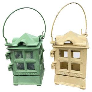 Arts and Crafts Pair Original Brilliant Colors Lanterns