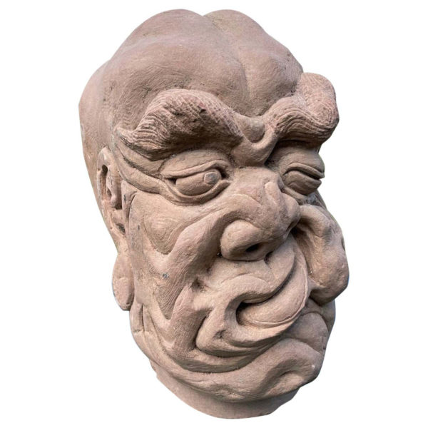 Chinese Old Fantastic Contorted Face Monk Sculpture