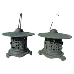 Japanese Pair Old Gold Finch and Bamboo Flower Garden Lanterns