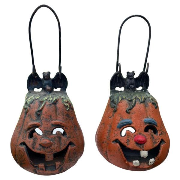 """Japanese Antique Pair """"Jack-O-Lantern"""" Lighting Lanterns"""