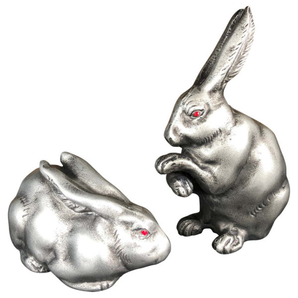 """Japanese Old Signed """"Red Eye"""" Rabbit Pair"""