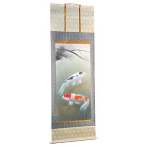 Japanese Magnificent Koi Fish Silk Scroll Hand Painting Signed & Boxed