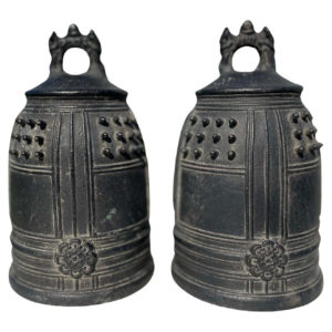 Japanese Pair Older Temple Bells Resonate Beautiful Serene Sound