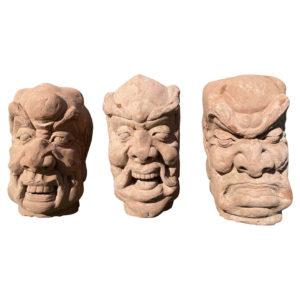 China Three Antique Fantastic Stone Garden Monks