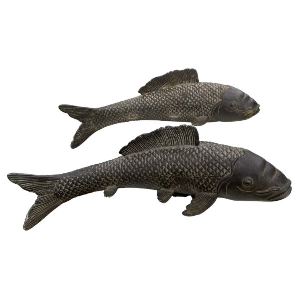 Old Vintage Japanese Pair Large Bronze Koi Fish Fortune and Prosperity