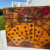 Antique Folk Art Painted Playing Card Games Box 1930