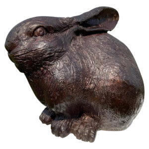Japanese Fine Large Old Classic Furry Bronze Rabbit