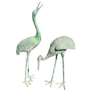 Japanese Pair Old Bronze Hand Cast Cranes