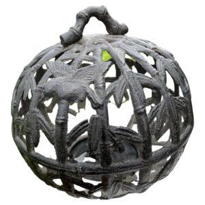 Antique Birds and Bamboo Round Garden Lantern